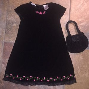EUC! Girls Blueberi Velour Dress & Purse